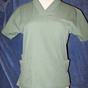 Light Pine Green V Neck 3 Pocket Scrub Medical Top